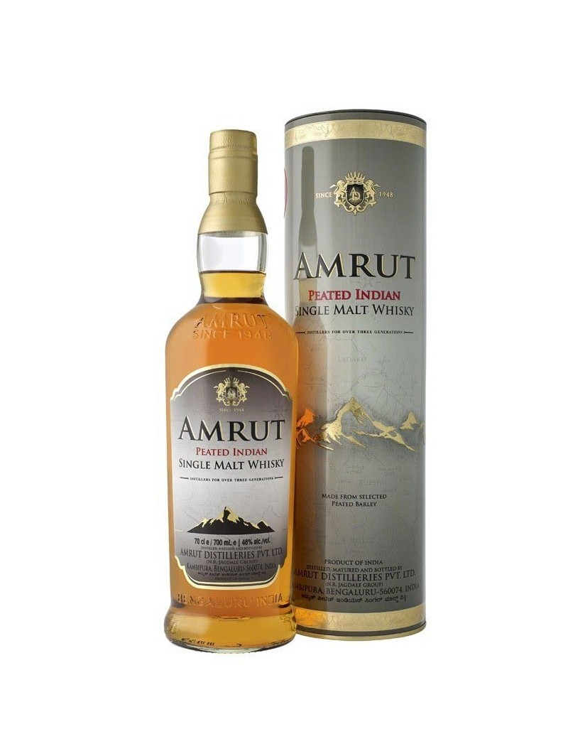 Whisky AMRUT Peated et son étui