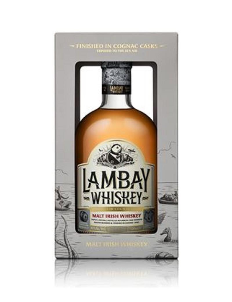 Lambay Irish Malt Ambré 43% et son étui.